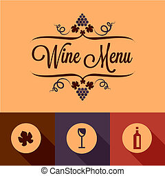 flat wine menu design elements