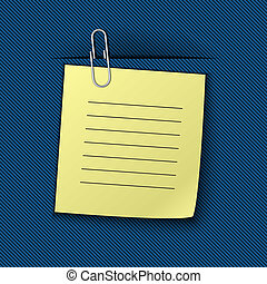 Vector illustration of the note clipped to the blue drapery