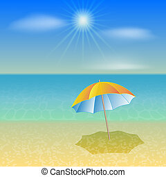 Vector illustration of sunny sea beach with umbrella -...