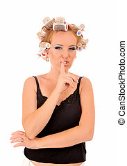 Woman with curlers saying be quiet. - Funny woman with...