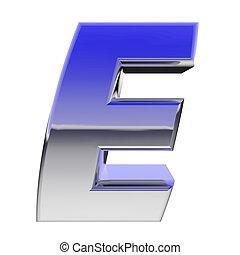 Chrome alphabet symbol letter E with color gradient...