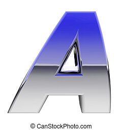 Chrome alphabet symbol letter A with color gradient...