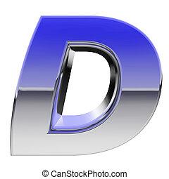 Chrome alphabet symbol letter D with color gradient...