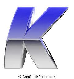 Chrome alphabet symbol letter K with color gradient...