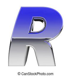 Chrome alphabet symbol letter R with color gradient...