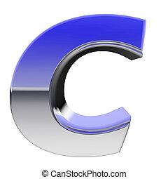 Chrome alphabet symbol letter C with color gradient...