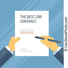 Signing a contract form flat illustration