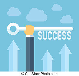 The key to success illustration concept - Flat design style...