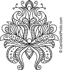 Ornate paisley floral element in a black and white line...