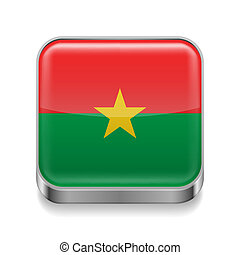 Metal icon of Burkina Faso - Metal square icon with flag...