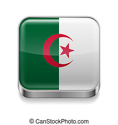 Metal icon of Algeria - Metal square icon with Algerian flag...
