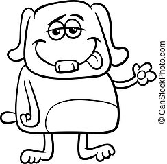 funny dog character coloring page