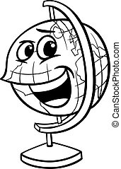 globe cartoon coloring page - Black and White Cartoon...
