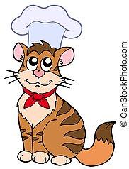 Cartoon cat chef - isolated illustration.