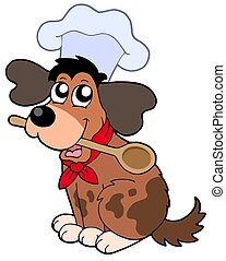 Cartoon dog chef with spoon - isolated illustration