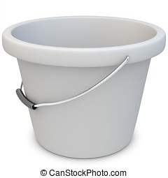 3d empty white plastic bucket - 3d empty plastic bucket on...