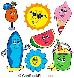 Summer pictures collection - isolated illustration.