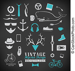 Set of hipster vintage retro chalk label and icon