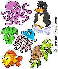 Aquatic animals collection 2 - isolated illustration