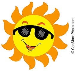 Cartoon Sun with sunglasses - isolated illustration