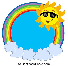 sol, círculo, gafas de sol, caricatura,  raibow