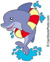 delfino, gonfiabile, anello