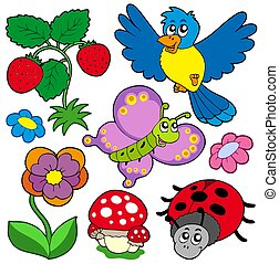 Spring time nature collection - isolated illustration.