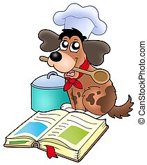 Cartoon dog chef with recipe book - color illustration