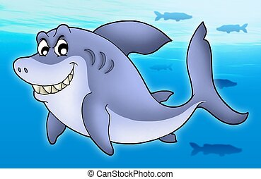 Smiling cartoon shark - color illustration