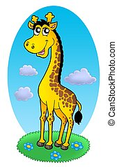 Cute giraffe standing on grass - color illustration.