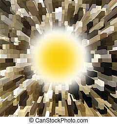 big yellow abstract explosion