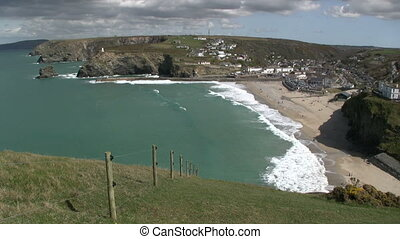 Portreath from Western hill in Cornwall, UK.