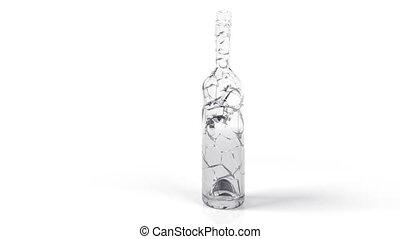 Breaking an empty bottle in 3D animation. Slow motion 500...
