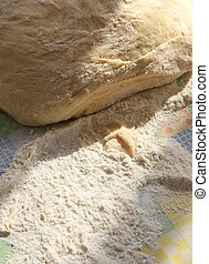 Dough of the test and the scattered flour