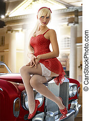 blond pinup in red - pretty blond pin up in red dress and...