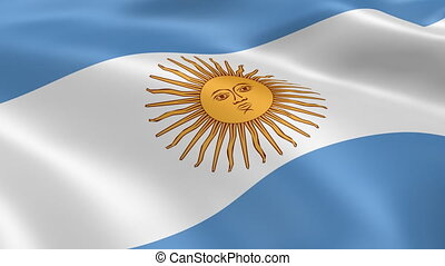 Argentinian Flag - Argentinian flag waving in the wind. Part...