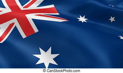Australian Flag - Australian flag waving in the wind. Part...