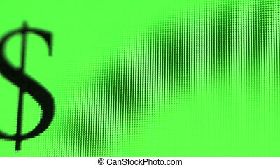 Dollar sign jumping across a green computer screen