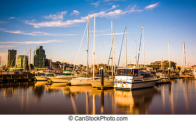 Marina along the waterfront in Baltimore, Maryland.