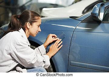 auto mechanic colourist matching color - colourist woman...