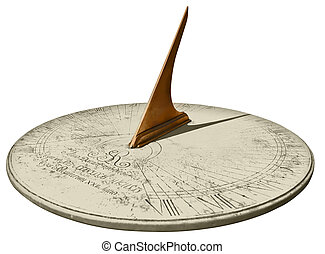 Sundial - Old marble sundial isolated with cut out path on...