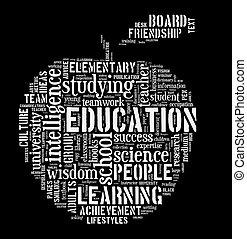 Education word cloud apple shape concept image