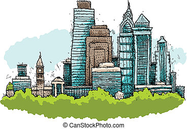 Philadelphia Skyline - Skyline cartoon of the city of...