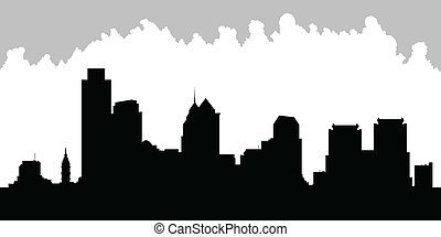 Philadelphia Skyline - Skyline silhouette of the city of...