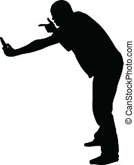 Accusing Phone - A silhouette of a man pointing at and...