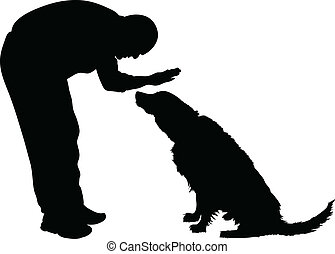 Man Petting Dog - Silhouette of a man petting a dog.
