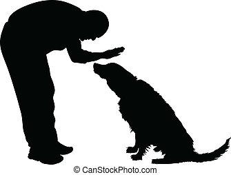 man, het petting, dog