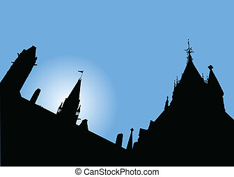 Parliament Hill, Ottawa - Skyline silhouette of Parliament...