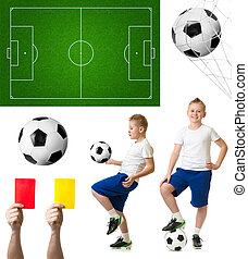 futebol, ou, futebol, jogo, incluindo, bola, jogador, campo