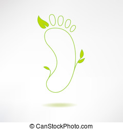 Foot logo with green leaf. Ecology and massage concept....